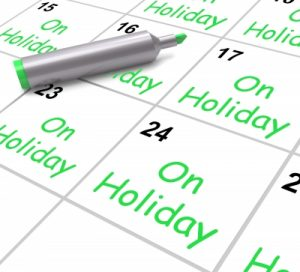 "On Holiday Calendar Shows Annual Leave Or Time Off"" by Stuart Miles"
